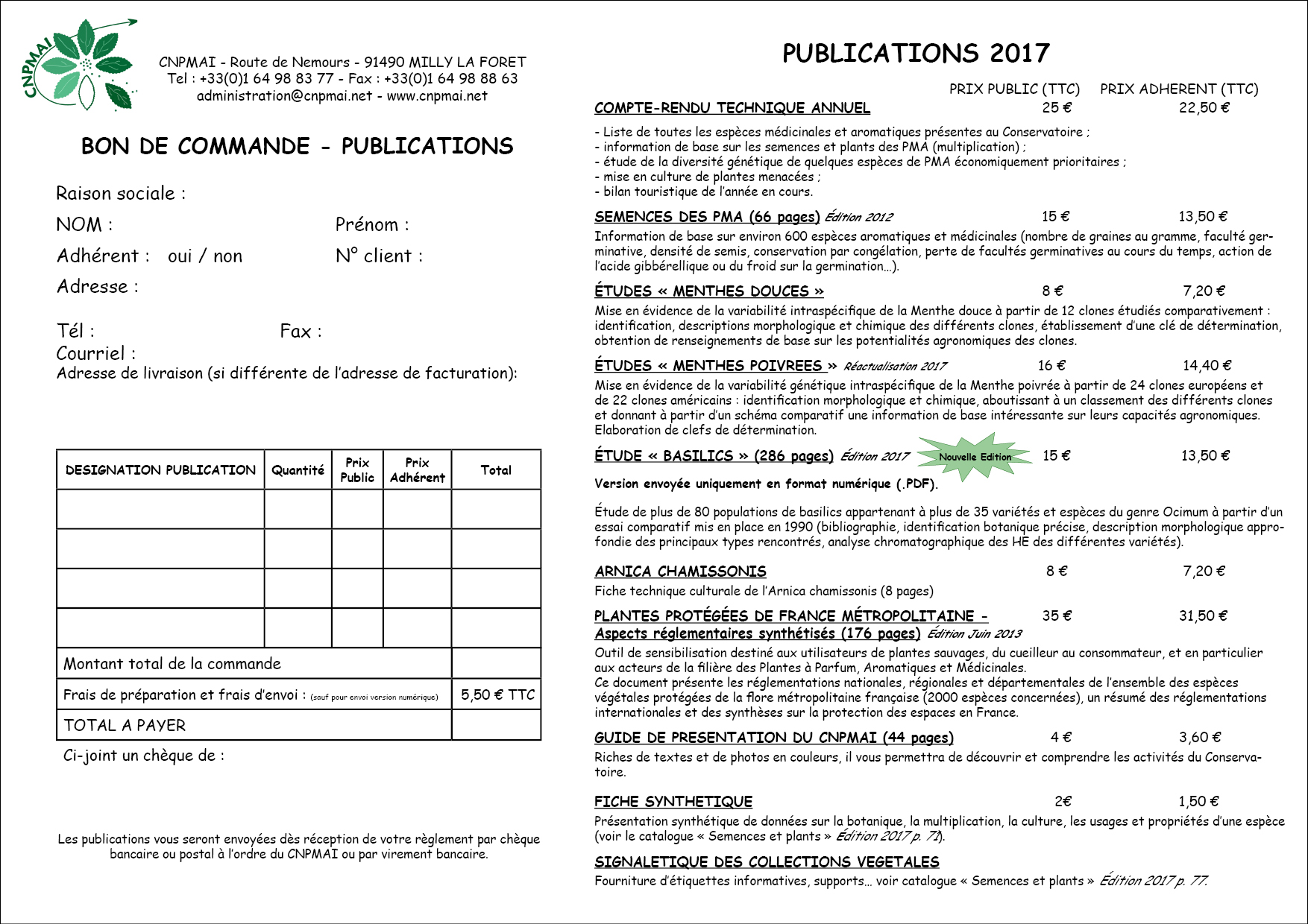 Liste et BDC Publications 2017