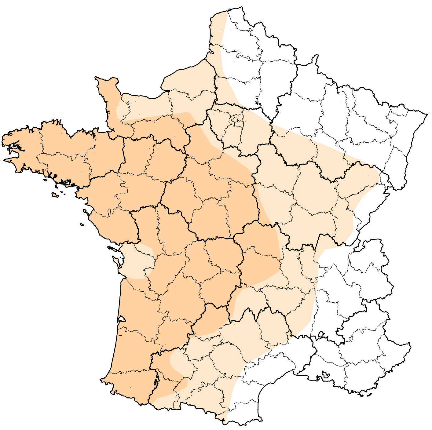 Aire de répartition naturelle de la Camomille romaine en France