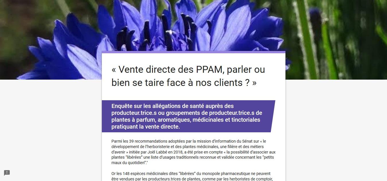 Enquête vente directe des PPAM