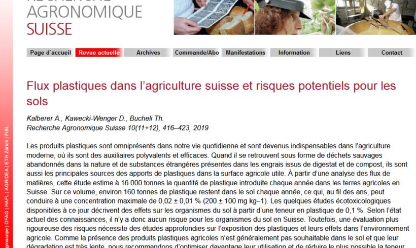 (Français) Flux plastiques dans l'agriculture suisse et risques potentiels pour les sols